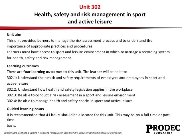 Unit 302 Health Safety And Risk Management In Sport And