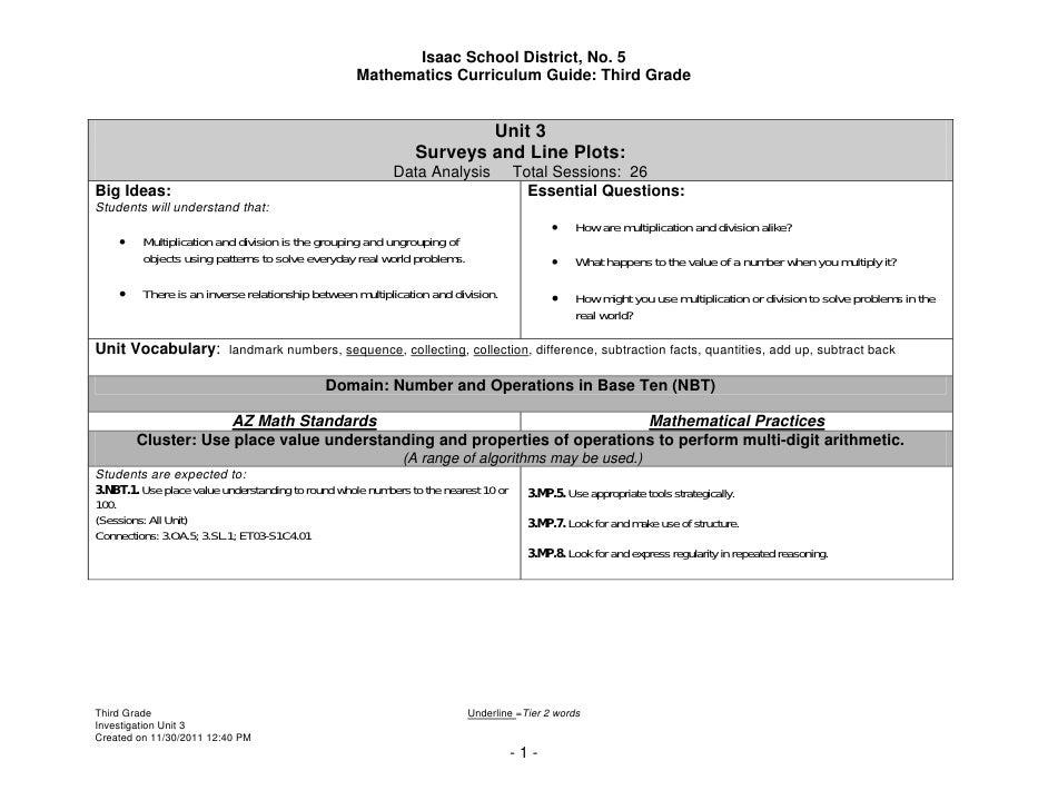 Isaac School District, No. 5                                                    Mathematics Curriculum Guide: Third Grade ...