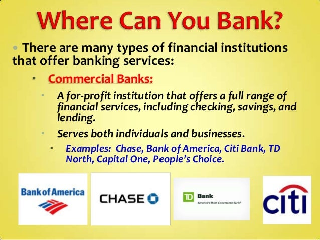 different types of bank institutions