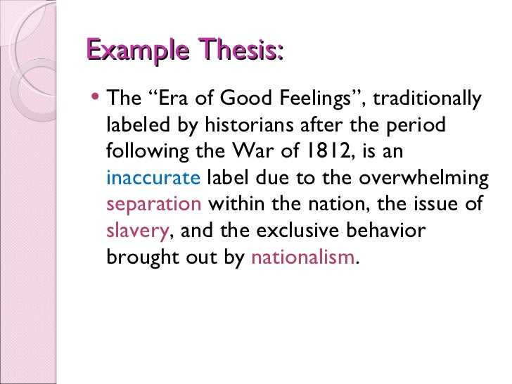 dbq era of good feelings A sample response essay to the 2002 ap us history free response question  dbq the essay looks at how the era of good feelings defined the time period.