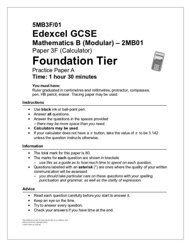 5MB3F/01            Edexcel GCSE            Mathematics B (Modular) – 2MB01            Paper 3F (Calculator)            Fo...