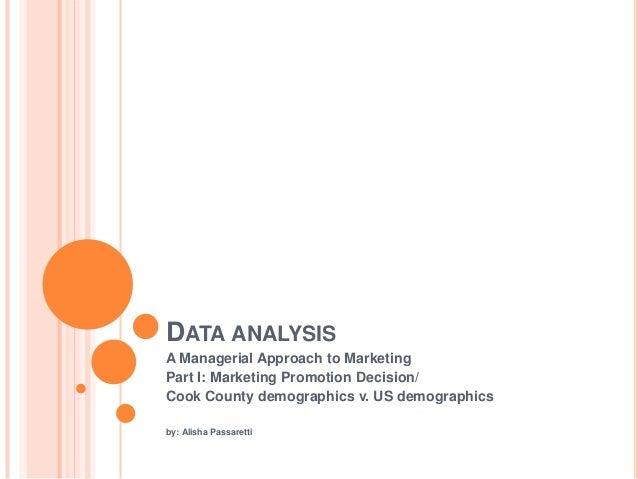 DATA ANALYSISA Managerial Approach to MarketingPart I: Marketing Promotion Decision/Cook County demographics v. US demogra...