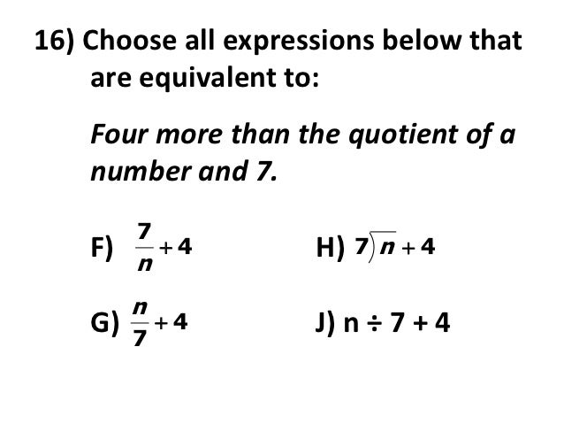 how to write the quotient of a number