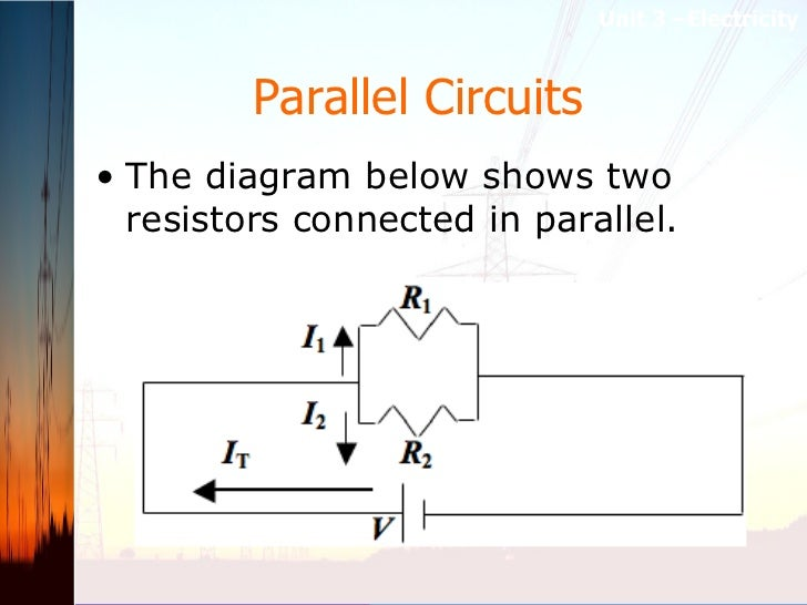Parallel Circuits   <ul><li>The diagram below shows two resistors connected in parallel.   </li></ul>Unit 3 –Electricity