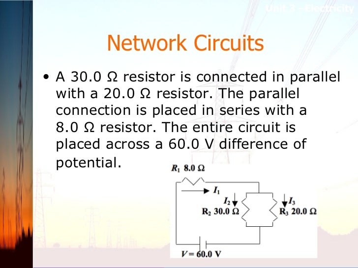 Network Circuits   <ul><li>A 30.0 Ω resistor is connected in parallel with a 20.0 Ω resistor. The parallel connection is p...