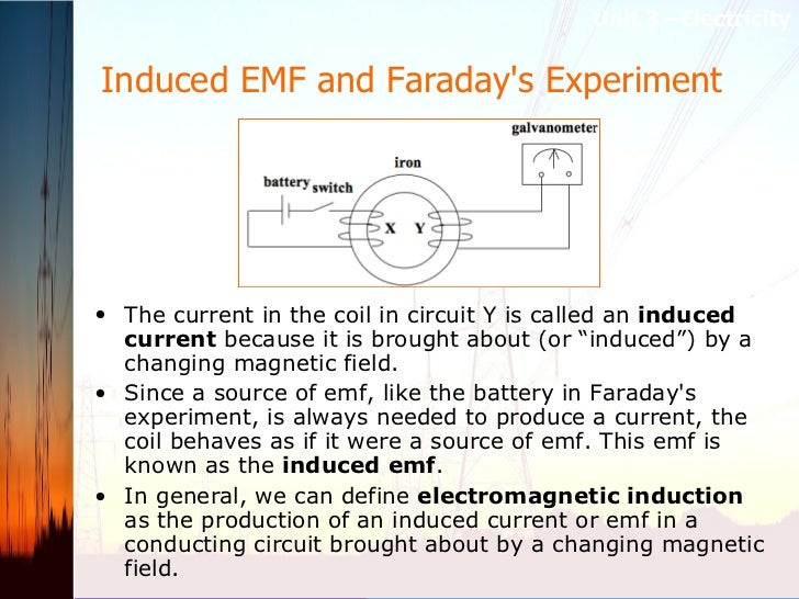 Induced EMF and Faraday's Experiment   <ul><li>The current in the coil in circuit Y is called an  induced current  because...