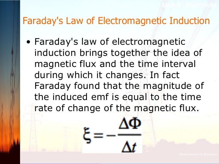 Faraday's Law of Electromagnetic Induction  <ul><li>Faraday's law of electromagnetic induction brings together the idea of...