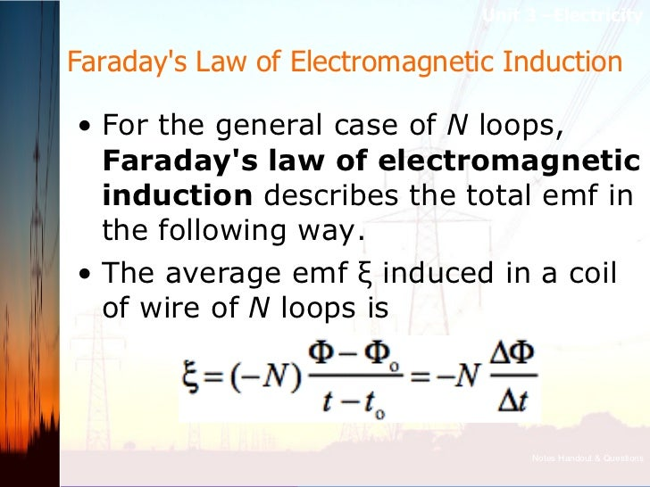 Faraday's Law of Electromagnetic Induction  <ul><li>For the general case of  N loops,  Faraday's law of electromagnetic i...