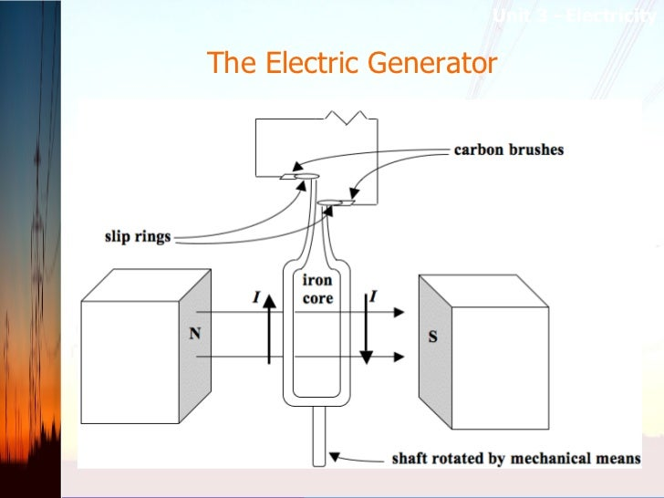 The Electric Generator  <ul><li>A  generator  is a device that converts mechanical energy into electrical energy. In its s...
