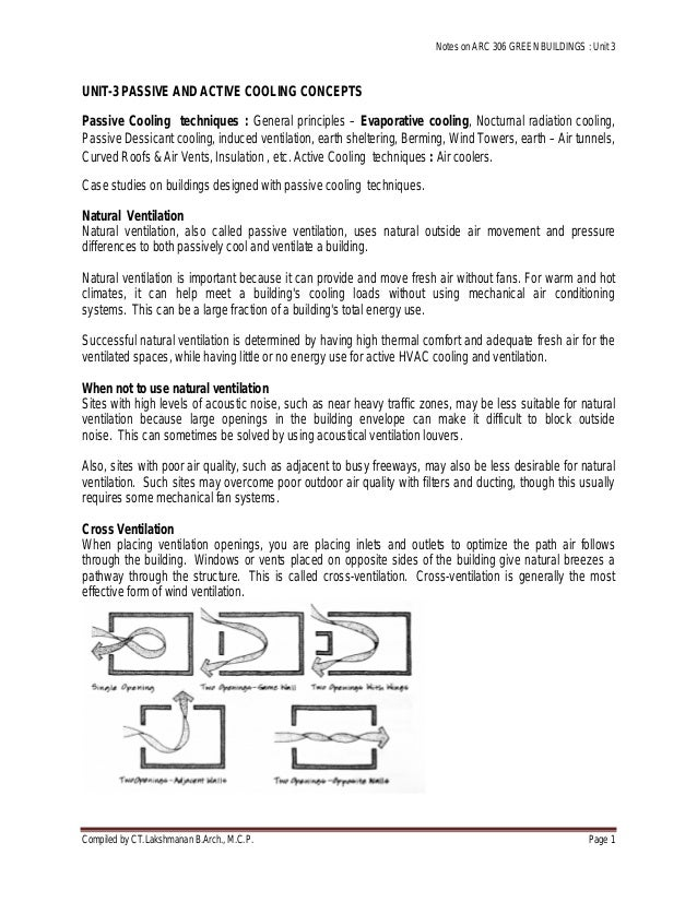 Notes on ARC 306 GREEN BUILDINGS : Unit 3 Compiled by CT.Lakshmanan B.Arch., M.C.P. Page 1 UNIT-3 PASSIVE AND ACTIVE COOLI...