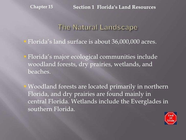 Section 1  Florida's Land Resources<br />Chapter 15<br />The Natural Landscape<br /><ul><li>Florida's land surface is abou...