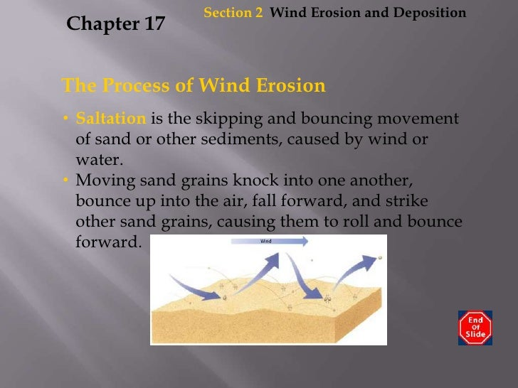 Section2  Wind Erosion and Deposition<br />Chapter 17<br />The Process of Wind Erosion<br /><ul><li>Saltation is the skipp...