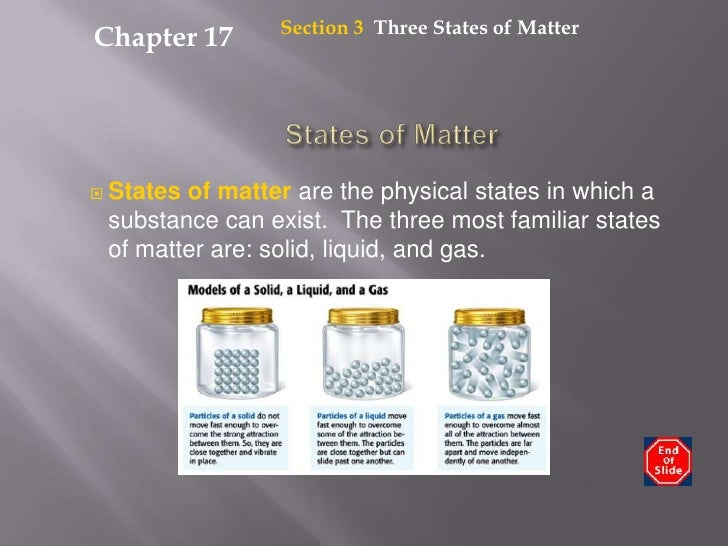 Section 3  Three States of Matter<br />Chapter 17<br />States of Matter<br />States of matter are the physical states in w...