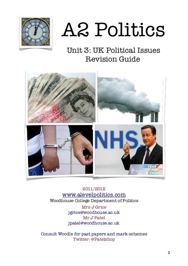A2 Politics Unit 3: UK Political Issues Revision Guide  2011/2012  www.alevelpolitics.com Woodhouse College Department of ...