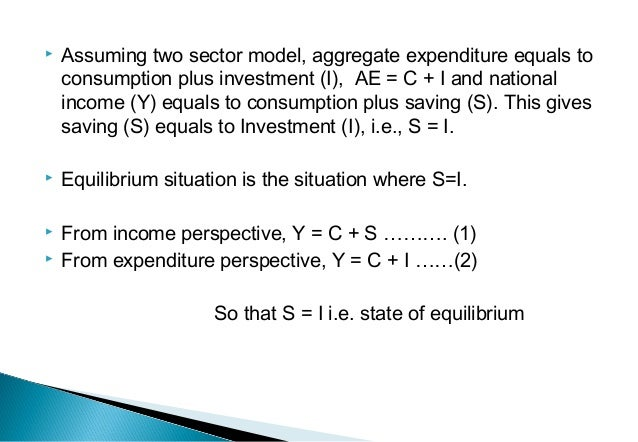  Assuming two sector model, aggregate expenditure equals to consumption plus investment (I), AE = C + I and national inco...