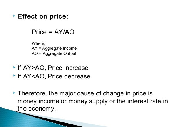  Effect on price:  If AY>AO, Price increase  If AY<AO, Price decrease  Therefore, the major cause of change in price i...
