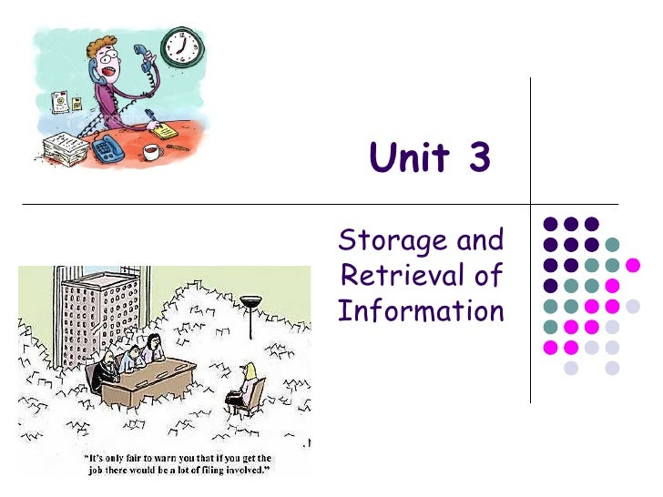 Unit 3 Storage and Retrieval of Information