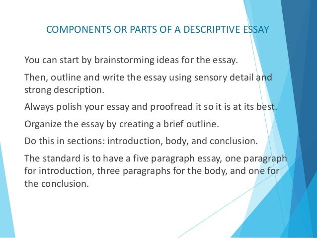 unit task descriptive essay isabel gonzalez  components or parts of a descriptive essay 5
