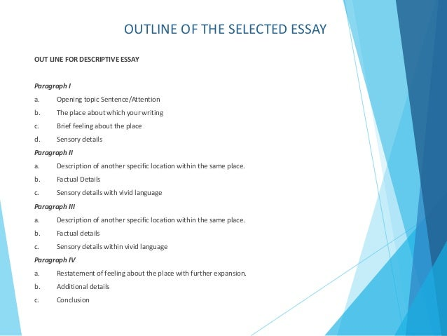 unit task descriptive essay isabel gonzalez  outline of the selected essay out line for descriptive