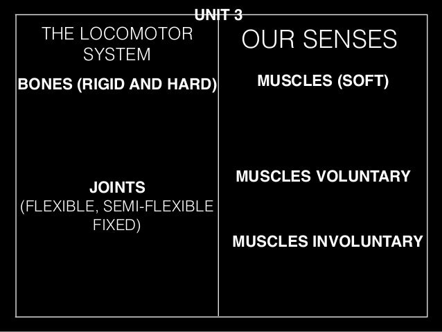 THE LOCOMOTOR SYSTEM JOINTS (FLEXIBLE, SEMI-FLEXIBLE FIXED) BONES (RIGID AND HARD) MUSCLES (SOFT) MUSCLES VOLUNTARY UNIT 3...