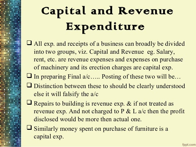 what is capital and revenue expenditure