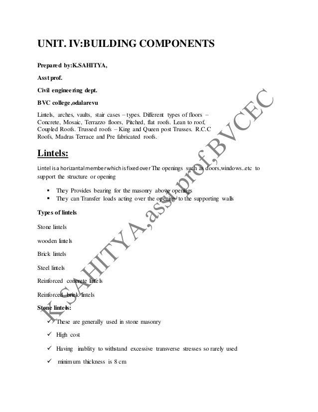 UNIT. IV:BUILDING COMPONENTS Prepared by:K.SAHITYA, Asst prof. Civil engineering dept. BVC college,odalarevu Lintels, arch...