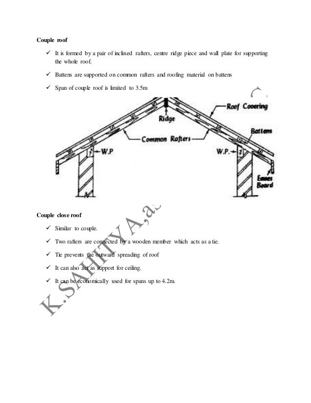 Collar and tie roof/purlin roof or double roof  For spans greater than 3m rafters are uneconomical  To reduce the size o...