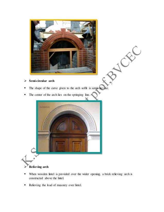  Semi-circular arch  The shape of the curve given to the arch soffit is semi-circular.  The center of the arch lies on ...