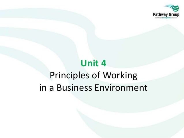 Work in a business environment
