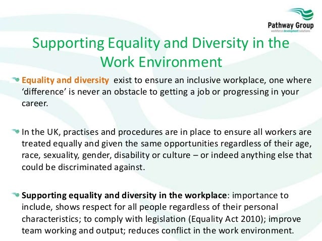 0922b317358 23. Supporting Equality and Diversity in the Work Environment ...