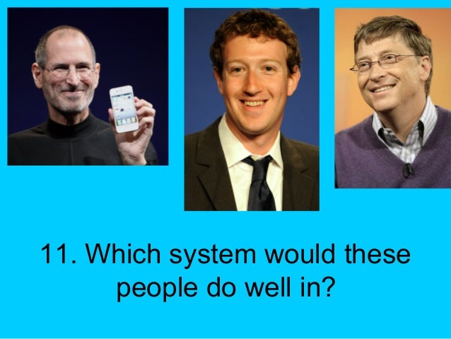 11. Which system would these people do well in?