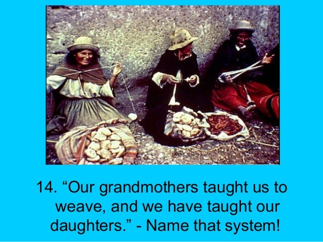 """14. """"Our grandmothers taught us to weave, and we have taught our daughters."""" - Name that system!"""