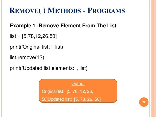 Unit 4 python -list methods