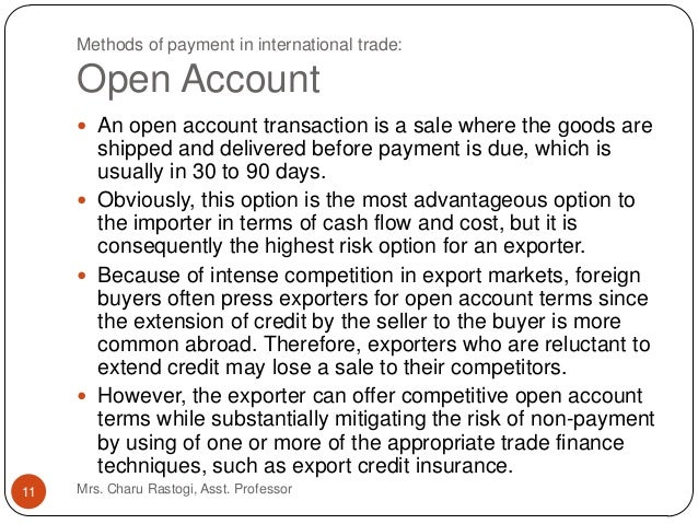 Method of Payment in International Trade