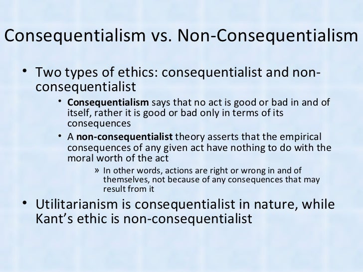 Utilitarianism VS Kantian Deontological Ethics