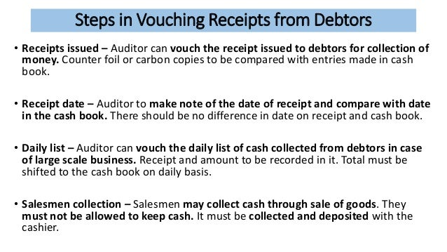 vouching of cash reciepts 1211 informal receiving process an informal receiving process is one in which you enter receipt information at the same time that you create a voucher.