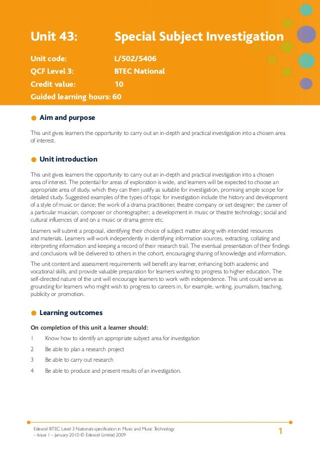 1Edexcel BTEC Level 3 Nationals specification in Music and Music Technology – Issue 1 – January 2010 © Edexcel Limited 200...