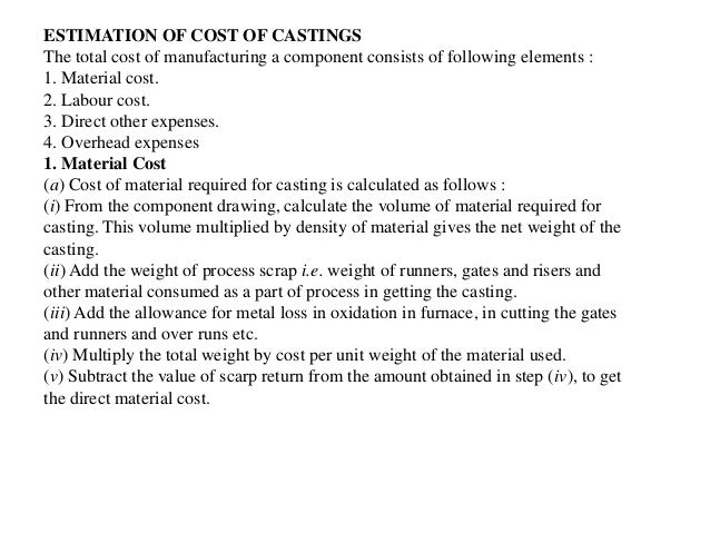 Production cost Estimation