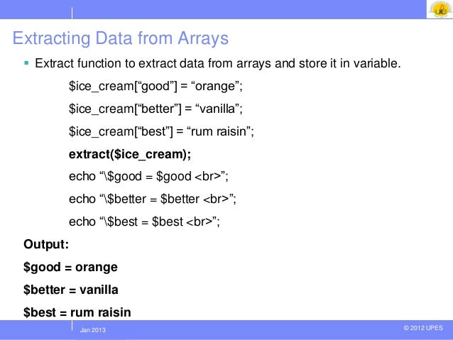 php extract array