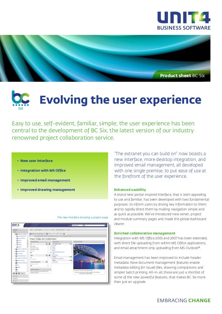 Product sheet BC Six              Evolving the user experience  SIXEasy to use, self-evident, familiar, simple; the user e...