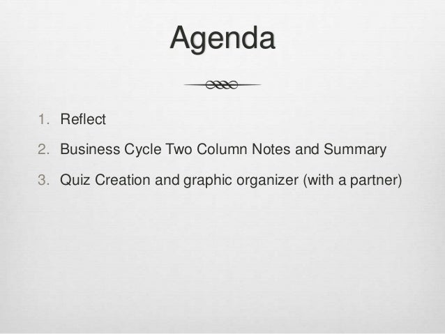 Agenda1. Reflect2. Business Cycle Two Column Notes and Summary3. Quiz Creation and graphic organizer (with a partner)