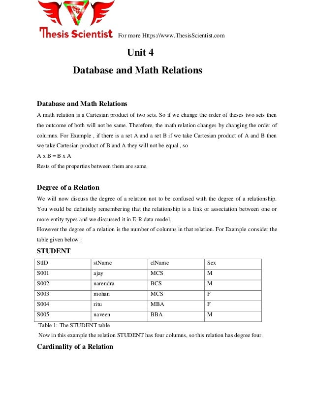 For more Https://www.ThesisScientist.com Unit 4 Database and Math Relations Database and Math Relations A math relation is...
