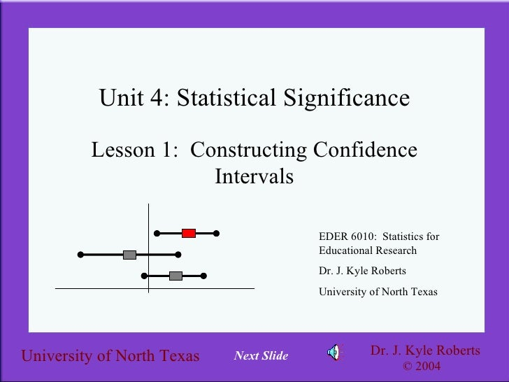 Unit 4: Statistical Significance Lesson 1:  Constructing Confidence Intervals EDER 6010:  Statistics for Educational Resea...