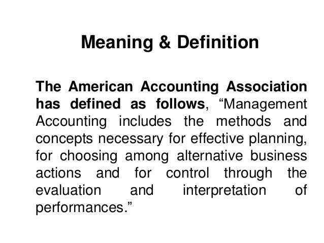Management Accounting: An Overview