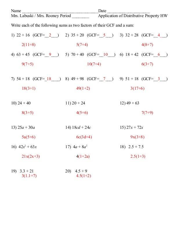 factoring out gcf worksheet