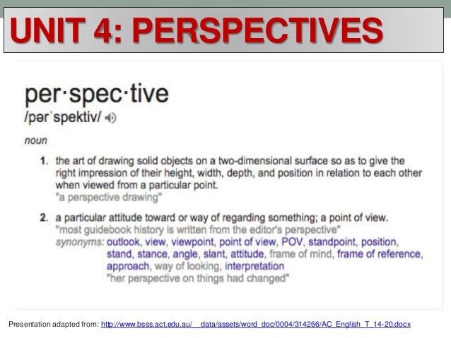 UNIT 4: PERSPECTIVES Presentation adapted from: http://www.bsss.act.edu.au/__data/assets/word_doc/0004/314266/AC_English_T...