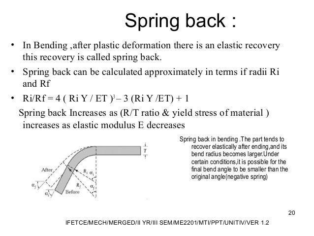 Spring back : • In Bending ,after plastic deformation there is an elastic recovery this recovery is called spring back. • ...