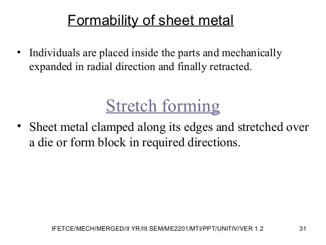 Formability of sheet metal • Individuals are placed inside the parts and mechanically expanded in radial direction and fin...