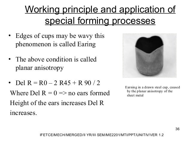 Working principle and application of special forming processes • Edges of cups may be wavy this phenomenon is called Earin...