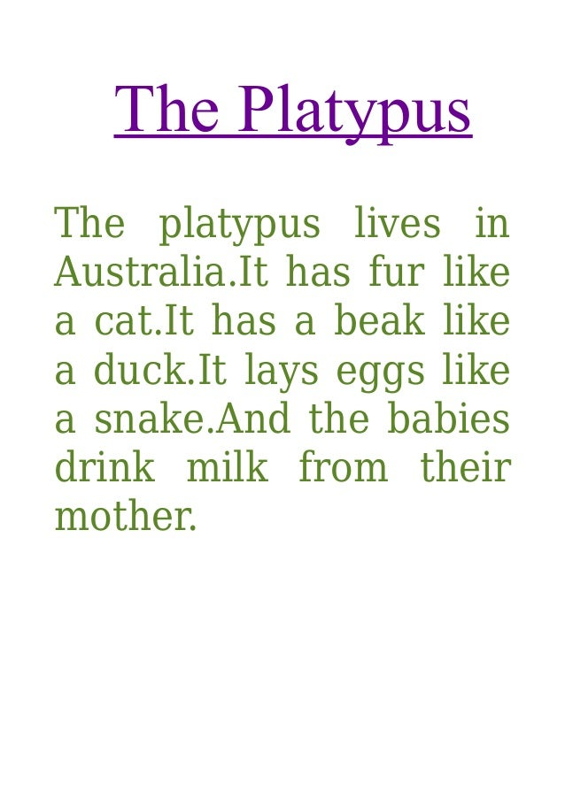 The Platypus The platypus lives in Australia.It has fur like a cat.It has a beak like a duck.It lays eggs like a snake.And...